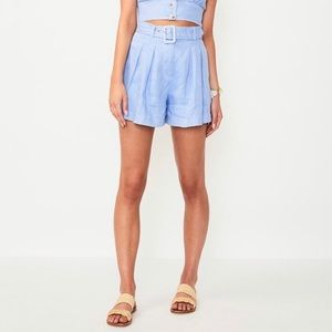 NWT Suboo blue linen retro belted shorts